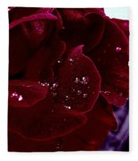 Dark Red Rose Fleece Blanket