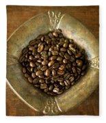 Dark Roast Coffee Beans And Antique Silver Fleece Blanket