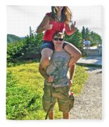 Couple From Saskatchewan On Skyline Trail In Cape Breton Highlands National Park-nova Scotia-canada  Fleece Blanket