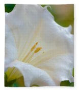 Datura Hybrid White Flower Fleece Blanket