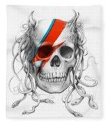 David Bowie Aladdin Sane Medusa Skull Fleece Blanket