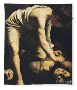David Victorious Over Goliath Fleece Blanket