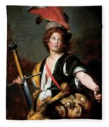 David With The Head Of Goliath, C.1636 Oil On Canvas Fleece Blanket