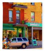 Davids Tea Room Rue St Viateur Next To The Bagel Shop Montreal Street Scene Art Carole Spandau   Fleece Blanket