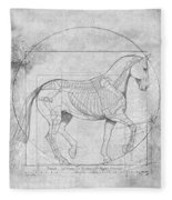 Da Vinci Horse Piaffe Grayscale Fleece Blanket