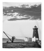 Davit And Lighthouse On A Breakwater Fleece Blanket