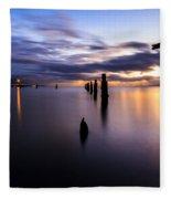 Dawn Breaks Over The Pier Fleece Blanket