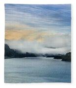Dawn Fog On Klamath River Fleece Blanket