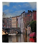 Dawn In Bruges Fleece Blanket