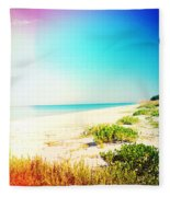 Day At The Beach Photography Light Leaks Fleece Blanket