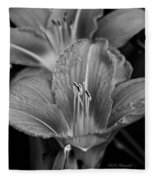 Day Lilies In Black And White Fleece Blanket