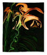 Day Lily At Night Fleece Blanket
