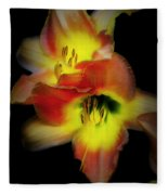 Day Lily On Black Fleece Blanket