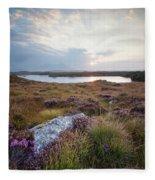 Daybreak Over Connemara Bog Fleece Blanket