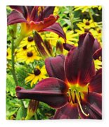 Daylilies And Rudbeckia Fleece Blanket