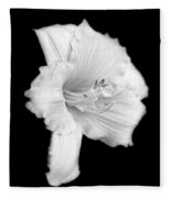 Daylily Flower Portrait Black And White Fleece Blanket