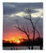 Dead Tree At Sunset Fleece Blanket