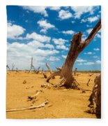 Dead Trees In A Desert Wasteland Fleece Blanket