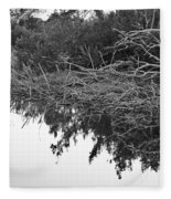 Deadfall Reflection In Black And White Fleece Blanket