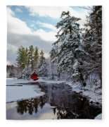 December Afternoon At The Red Boathouse Fleece Blanket