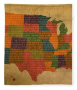 Declaration Of Independence Word Map Of The United States Of America Fleece Blanket