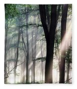 Deep Forest Morning Light Fleece Blanket