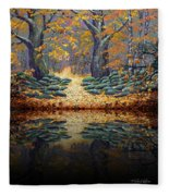 Deep Pond Reflections Fleece Blanket
