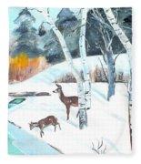 Deer Creek In Winter Fleece Blanket