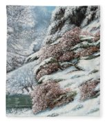 Deer In A Snowy Landscape Fleece Blanket