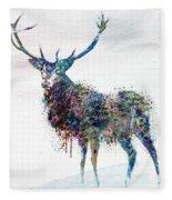 Deer In Watercolor Fleece Blanket