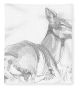 Deer Lying Down Drawing Fleece Blanket