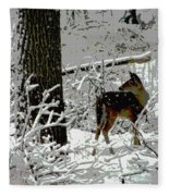 Deer On Snowy Trail Fleece Blanket