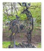 Deer Sculpture Fleece Blanket