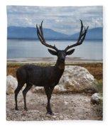 Deer Statute On Antelope Island  Fleece Blanket