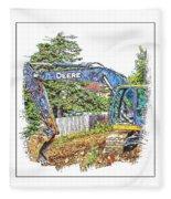 Deere For Hire2 - Excavator - Digger Fleece Blanket