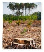 Woods Logging One Stump After Deforestation  Fleece Blanket