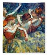 Degas' Four Dancers Up Close Fleece Blanket