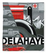 Delahaye Cars - Vintage Poster Fleece Blanket