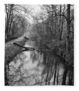 Delaware Canal In Black And White Fleece Blanket
