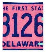 Delaware License Plate Fleece Blanket