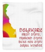 Delaware State Map Collection 2 Fleece Blanket