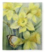 Delias Mysis Union Jack Butterfly On Daffodils Fleece Blanket