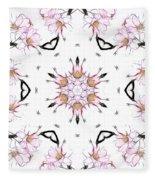 Delicate Cherry Blossom Fractal Kaleidoscope Fleece Blanket