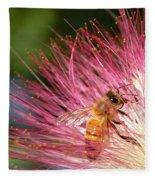 Delicate Embrace - Bee And Mimosa Fleece Blanket