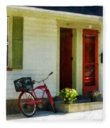 Delivery Bicycle By Two Red Doors Fleece Blanket