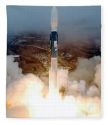 Delta II Rocket Taking Off Fleece Blanket