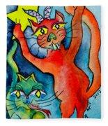 Demon Cats Reach Fleece Blanket