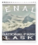 Denali Postage Stamp  Fleece Blanket