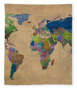 Denim Map Of The World Jeans Texture On Worn Canvas Paper Fleece Blanket
