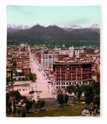Denver Panorama 1897 Fleece Blanket